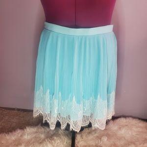 Torrid pleated chiffon lace skirt blue